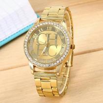 Reloj Ch Bañado En Oro De 18k De Acero Inoxidable