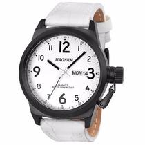 Relógio Magnum Ma33442b Branco Pulseira De Couro Esportivo