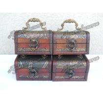 4 Cofres De Madera Tipo Alhajeros Con Manija Para Souvenir