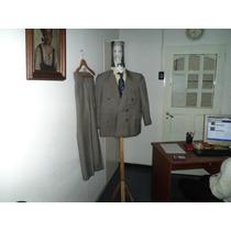 Traje / Ambo Saco Cruzado Cuadrille Beige Y Negro Impecable