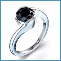 Anillo Compromiso Diamante Natural Negro Plata Oro -50% 007