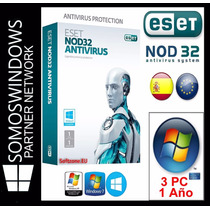 Licencia Eset Nod32 Antivirus V8 1 Año X 3 Pc Original