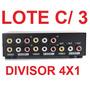 Lote Com 3x Seletor Rca Audio E Video Composto 4x1 Switch Av