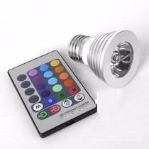 Foco Led Rgb 3w E26 Control Remoto-16 Colores
