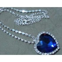 Colar Titanic Coração Do Oceano Com Cristal Azul