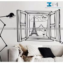Vinilo Decorativo Ventana Paris Sticker Gigante Torre Eiffel