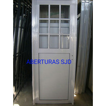 Puerta Aluminio Blanco 1/2 Vidrio Repartido 80x200 Final