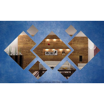 Kit Espelhos Decorativo 7 Quadrados Cantos Cortados Tam. Gde