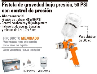 Pistola de gravedad baja presion truper 19091 for Pistola de pegamento o de silicona