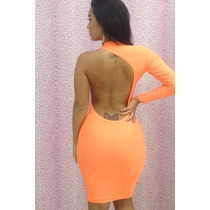 Sexy Vestido Fiesta Naranja Una Manga Espalda Descubierta