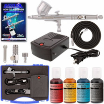 Kit Aerografo Mini Compresor Diseño Decoracion Master Vv4
