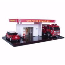 Mini Posto Bombeiro Maquete Diorama Carro Caminhão