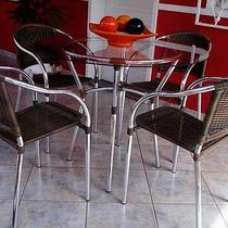 Conjunto De Mesas Cadeira Para Jardim Sala Varanda Decoração
