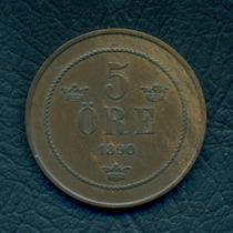 Moneda Suecia 1890 5 Ore Km#757