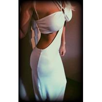 Vestido Top Negro/blanco Largo/escotado De Lycra/sexy/playa