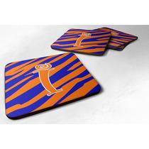 Conjunto De 4 Monograma - Raya Del Tigre Azul Y Naranja De E