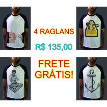 Promoção Camiseta Raglan Rock Estilo Satiras Engraçadas