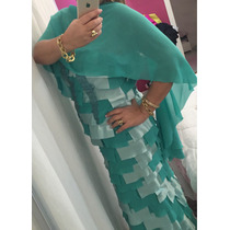 Vestido Alta Costura Impecavel Corte Laser Verde Tiffany