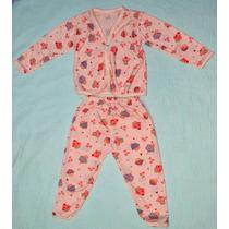 Pijama Infantil Feminino Em Algodão, Tamanho Rn