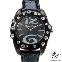 Reloj Para Dama Paris Hilton, Original Negro Piel, Fdp
