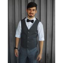 Colete Slim Preto Oxford Masculino Social Promoção