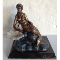 Hermosa Escultura De Una Sirena Sentada, Hecha De Bronce Op4