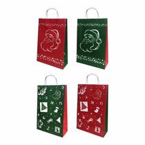 Bolsas De Papel Navidad Regalo Papá Noel Felices Fiestas X12