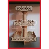 Porta Cupcakes Bandejas X 3 Cotadas En Laser