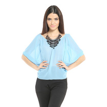Blusa Azul Chiffon Ancha Ajustable En Trasero Saints Clothes