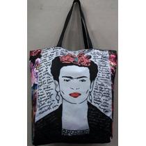 Bolsa Sacola Frida Kahlo Couro Sarja Zíper Bolso Interno