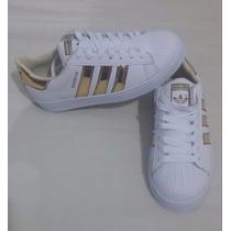 Zapatos Modelo Adidas Super Star Dorados Calidad 100%