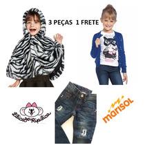 Kit Poncho, Cardigã. Jeans 4.6.8anos Lilica Ripilica Marisol