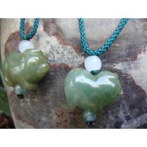 Collares Dijes Par De Puerquitos Jade Verde