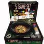 5 Game Set Juegos De Casino Caja Metálica Multijuego