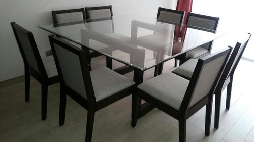 Juego de comedor 8 sillas nuevo precio negociable 500 for Mesa cristal 4 personas