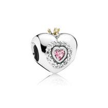 Charm P Pulsera Pandora Princess Gold Crown Pink Cristal Vs