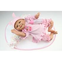Linda Bebê Rosa De Silicone Real, Boneca Reborn