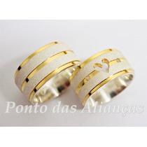 Lindo Par Alianças Prata E Ouro 10mm Coração Vazado Lindas!!