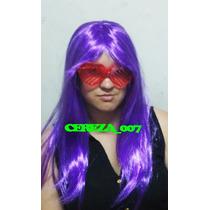 Peluca Larga Lacio Violeta 60cm Carnaval Carioca Cotillon