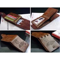 Carteira Masculina Em Couro Leather Genuine. Ótimo Presente