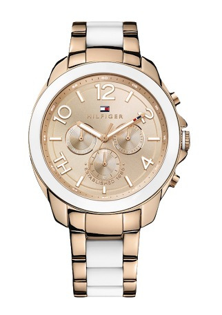 585b7b3503c Relógio Tommy Hilfiger Feminino Dourado Branco 12 Sem Juros - R  1.169
