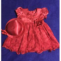 Vestido Infantil Vermelho + Chapéu Vestido Para Festa Luxo