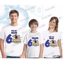 Lembrança De Aniversario Club Do Pinguim Camiseta Kit Com 3