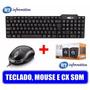 Teclado + Mouse + Caixa De Som 6w Usb Computado Pc Notebook