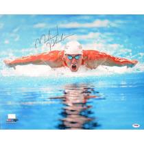 Poster Autografiado Michael Phelps Natacion Juegos Olimpicos