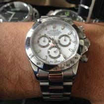 Relógio Daytona Prata Fundo Branco Automático Safira