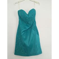 Vestido Corto De Fiesta Color Verde Azulado Talla Mediana