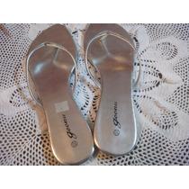 Sandalias Para Damas Casuales Plateadas Bajitas
