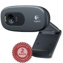 Webcam Com Microfone Logitech Hd 720p C270 3mp + Nota Fiscal
