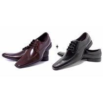 Kit 2 Pares De Sapatos Sociais Masculino Em Couro